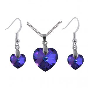 sterling silver swarovski crystal heliotrope blue heart pendant and earrings set