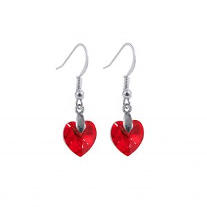 swarovski crystal sterling silver light siam ab red heart earrings
