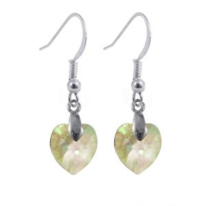 sterling silver swarovski crystal luminous green heart earrings
