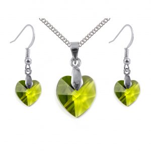Swarovski crystal sterling silver olivine green heart earrings and pendant set