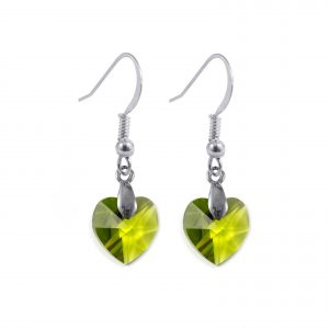 Swarovski crystal sterling silver olivine green heart earrings
