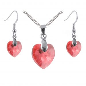 padparadscha Swarovski crystal heart sterling silver pendant and earrings set