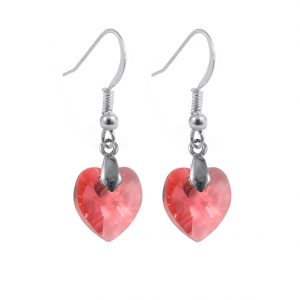swarovski crystal sterling silver padparadscha heart earrings
