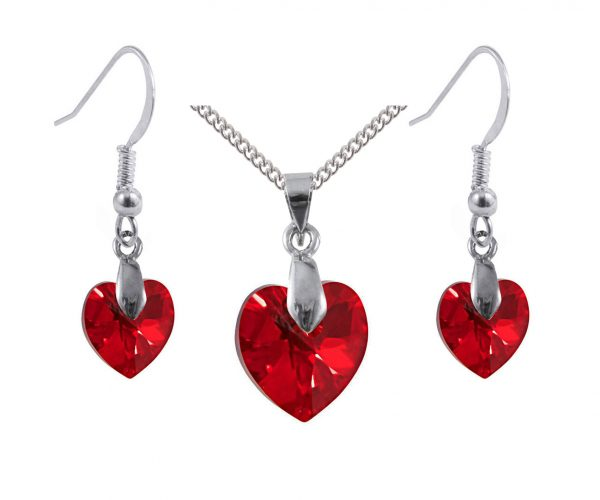 siam ab red Swarovski crystal sterling silver heart pendant and earrings set