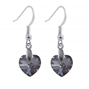 swarovski crystal silver night sterling silver heart earrings