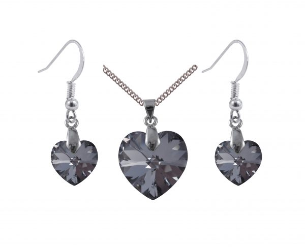 sterling silver swarovski crystal silver night heart earrings and pendant set