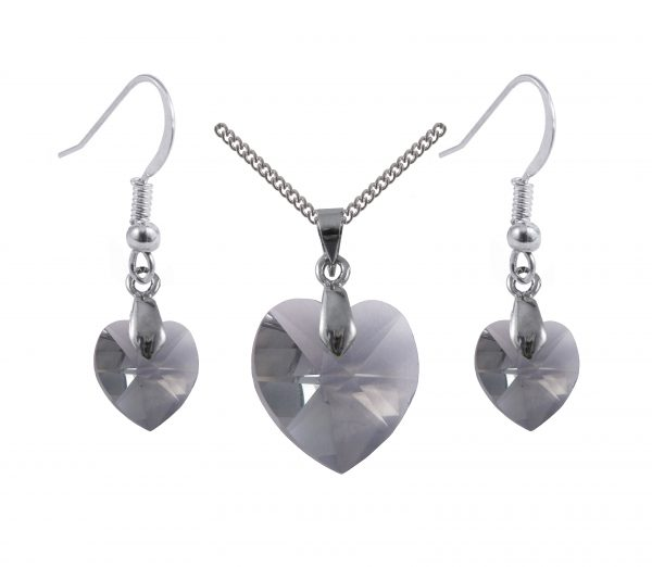 Swarovski crystal sterling silver black diamond grey heart earrings and pendant set