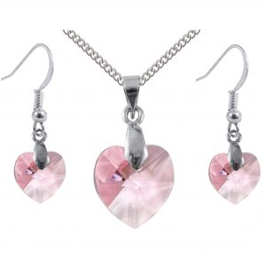 sterling silver swarovski crystal light rose pink heart earrings and pendant set
