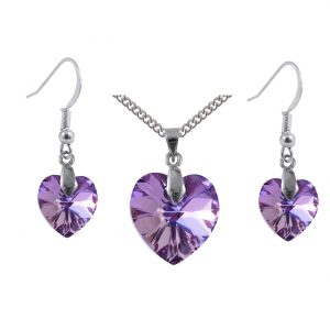 swarovski crystal vitrail light sterling silver heart pendant and earrings set
