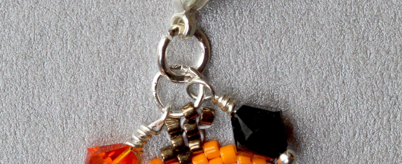 small pumpkin and swarovski bead halloween charm