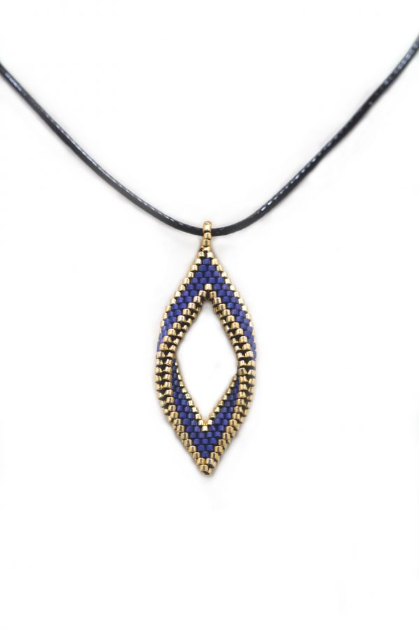 miyuki delica beaded navy and gold folded open leaf with leather cord