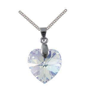 swarovski crystal ab 18mm heart pendant