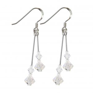 swarovski crystal ab double drop earrings