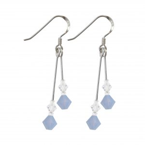 swarovski crystal air blue opal double drop sterling silver earrings