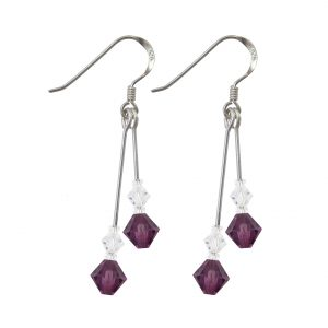 swarovski crystal amethyst purple silver double drop earrings