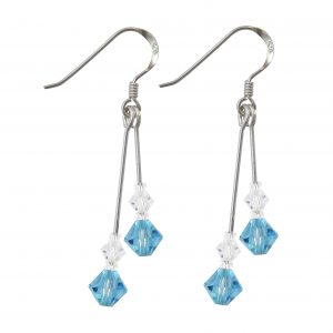 sterling silver swarovski crystal aquamarine double drop earrings