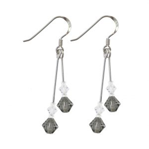 swarovski crystal black diamond double drop silver earrings