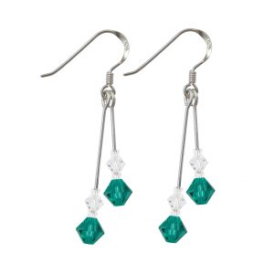 swarovski crystal blue zircon double drop earrings