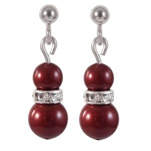 swarovski crystal bordeaux red pearl earrings