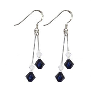 swarovski crystal dark indigo double drop earrings