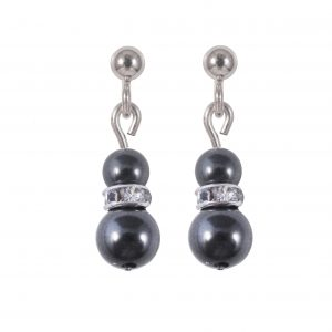 swarovski crystal pearl dark grey sparkle rondelle earrings