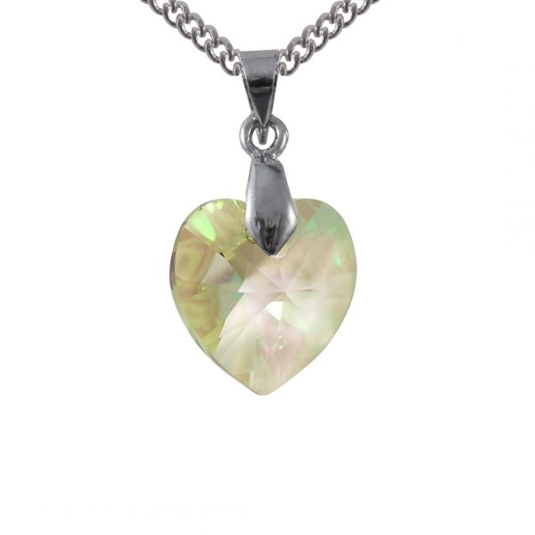 luminous green sterling silver swarovski crystal pendant
