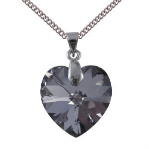 swarovski crystal silver night 18mm heart pendant