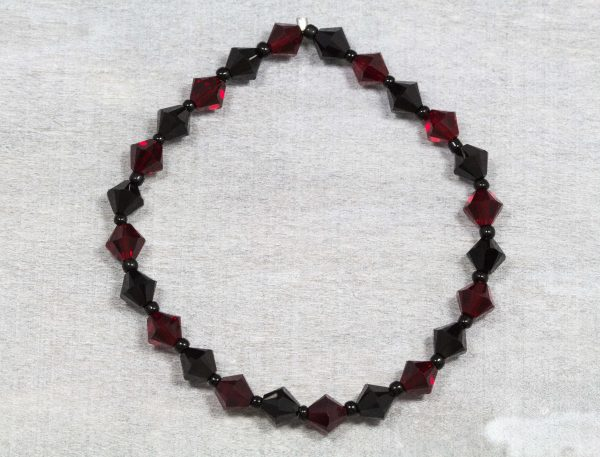 jet black and siam red bicone swaroavski crystal bracelet