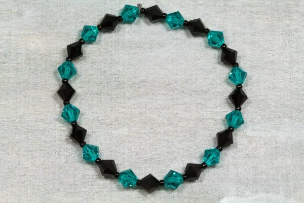 jet black and blue zircon xillion swarovski crystal bracelet