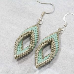 matt seafoam and pewter silver open leaf miyuki beaded earrings
