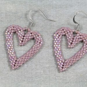 mauve-ab-miyuki-beaded-heart-earrings