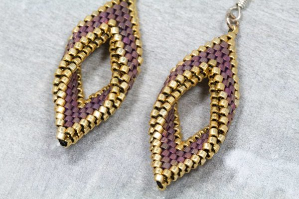 red and gold folded open leaf miyuki delica beaded earrings