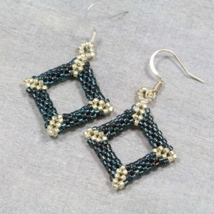 sterling silver miyuki delica offset square hand beaded metallic blue and silver earrings